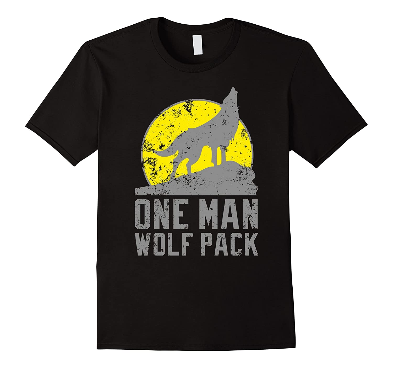 Mens one man wolfpack shirt funny wolf pack t shirt goatstee for Amazon review wolf shirt