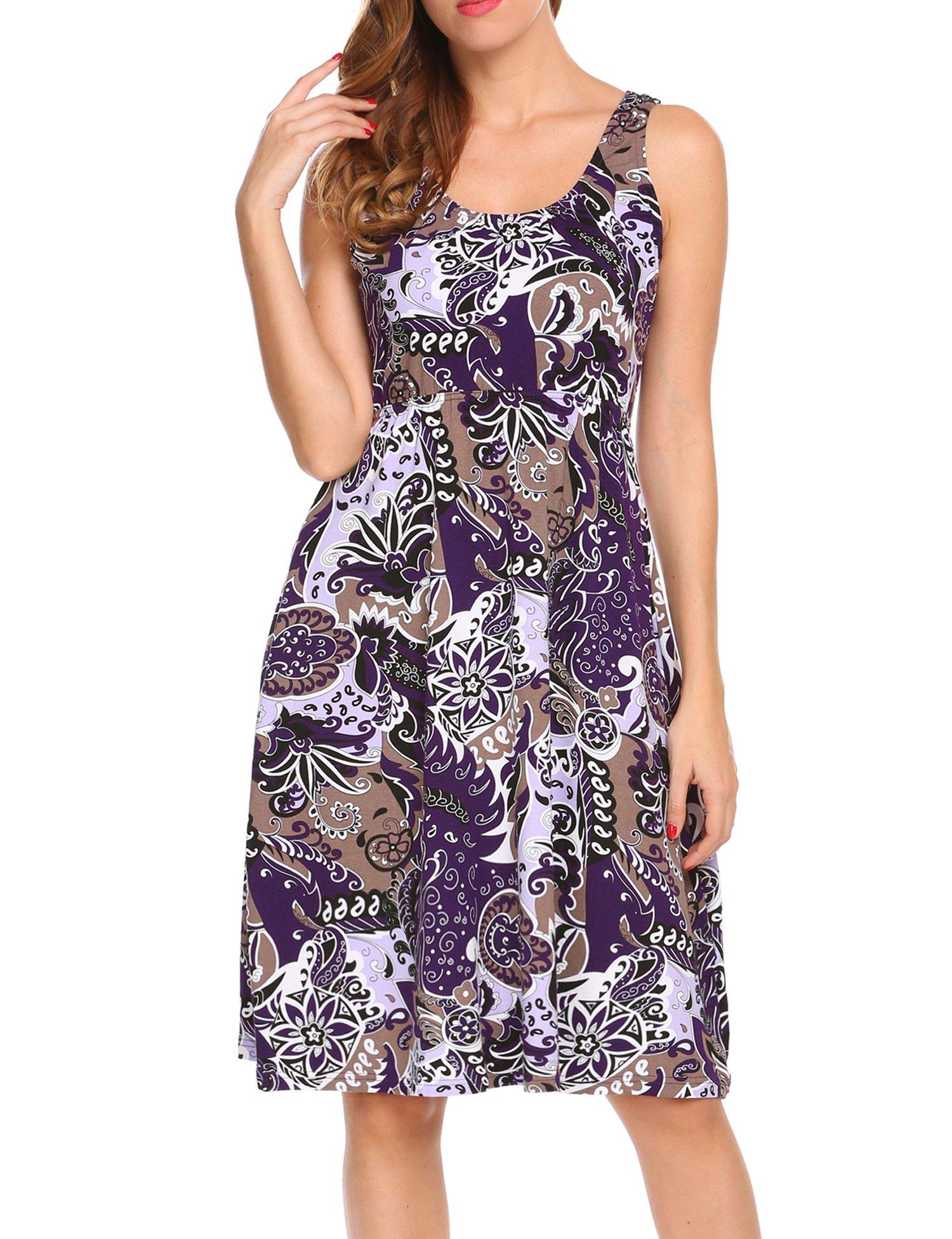 MAXMODA Women's Maternity Cotton Solid Nursing Nightwear Gown Purple Print S