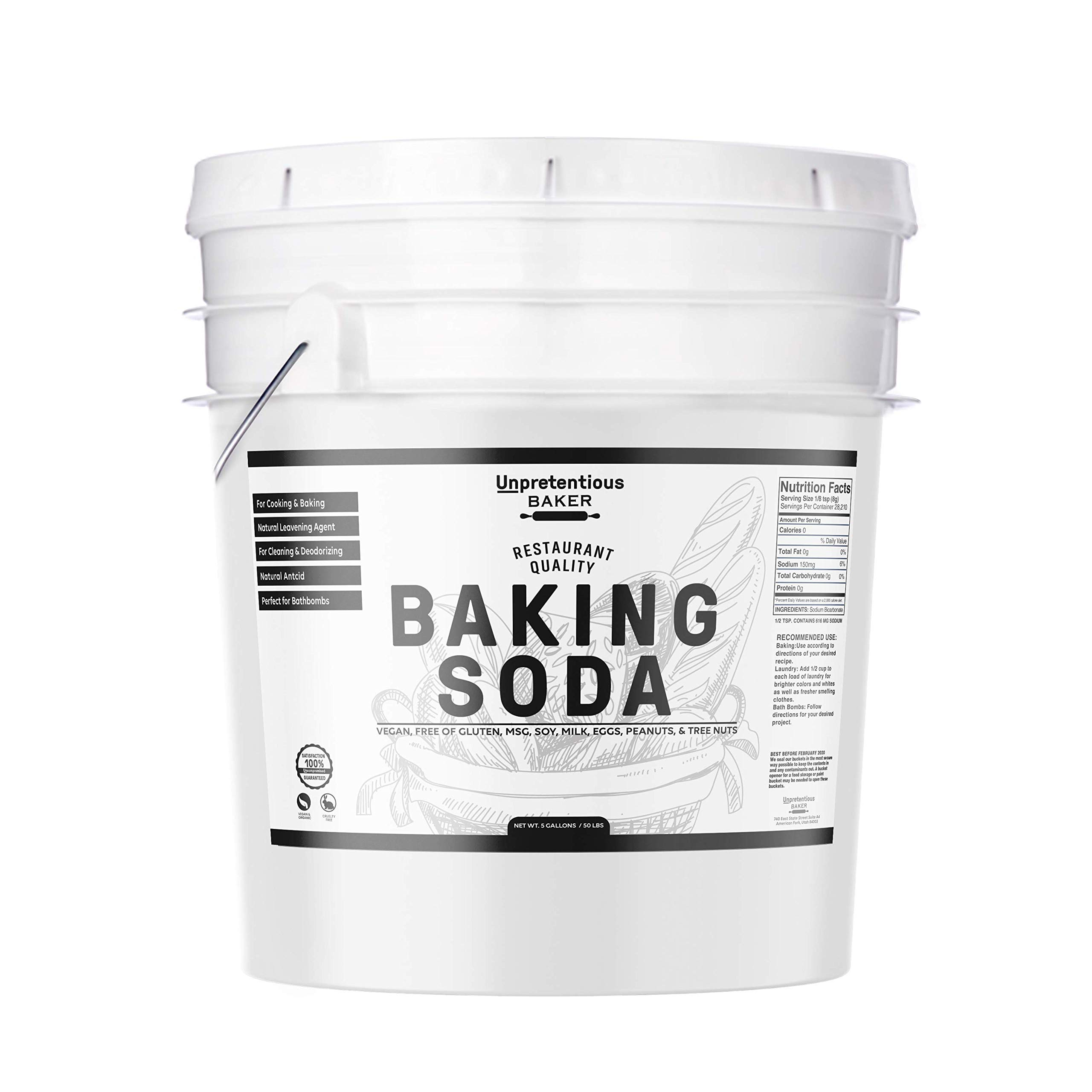 Baking Soda (Sodium Bicarbonate) by Unpretentious Baker, 5 gallon, Resealable Bucket, Restaurant Quality, Highest Purity, Food & USP Pharmaceutical Grade