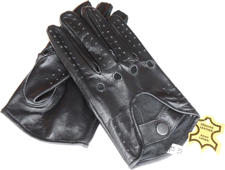 guanti ciclismo Classica da uomo sfoderato in vera pelle nera morbida estivo da moto guanti guanti da guida.