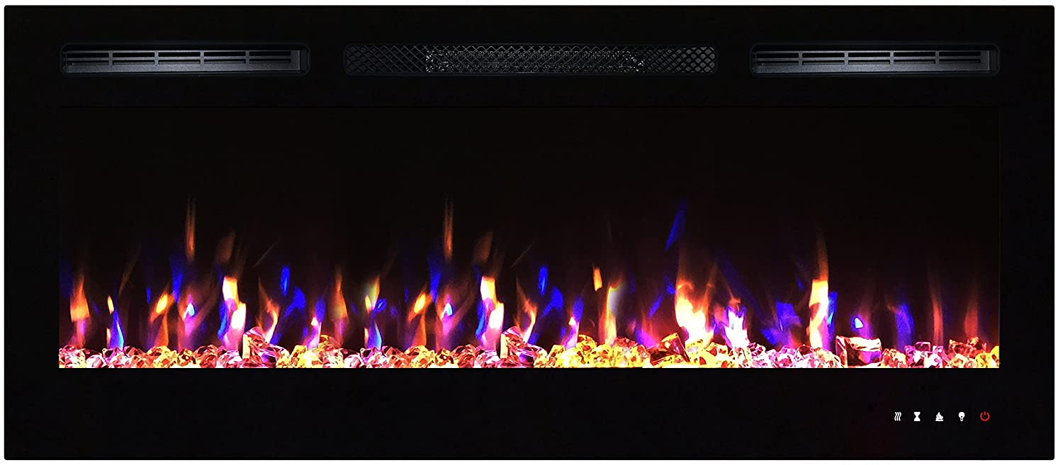 flush mount led fireplace ledfp 50 black with remote control