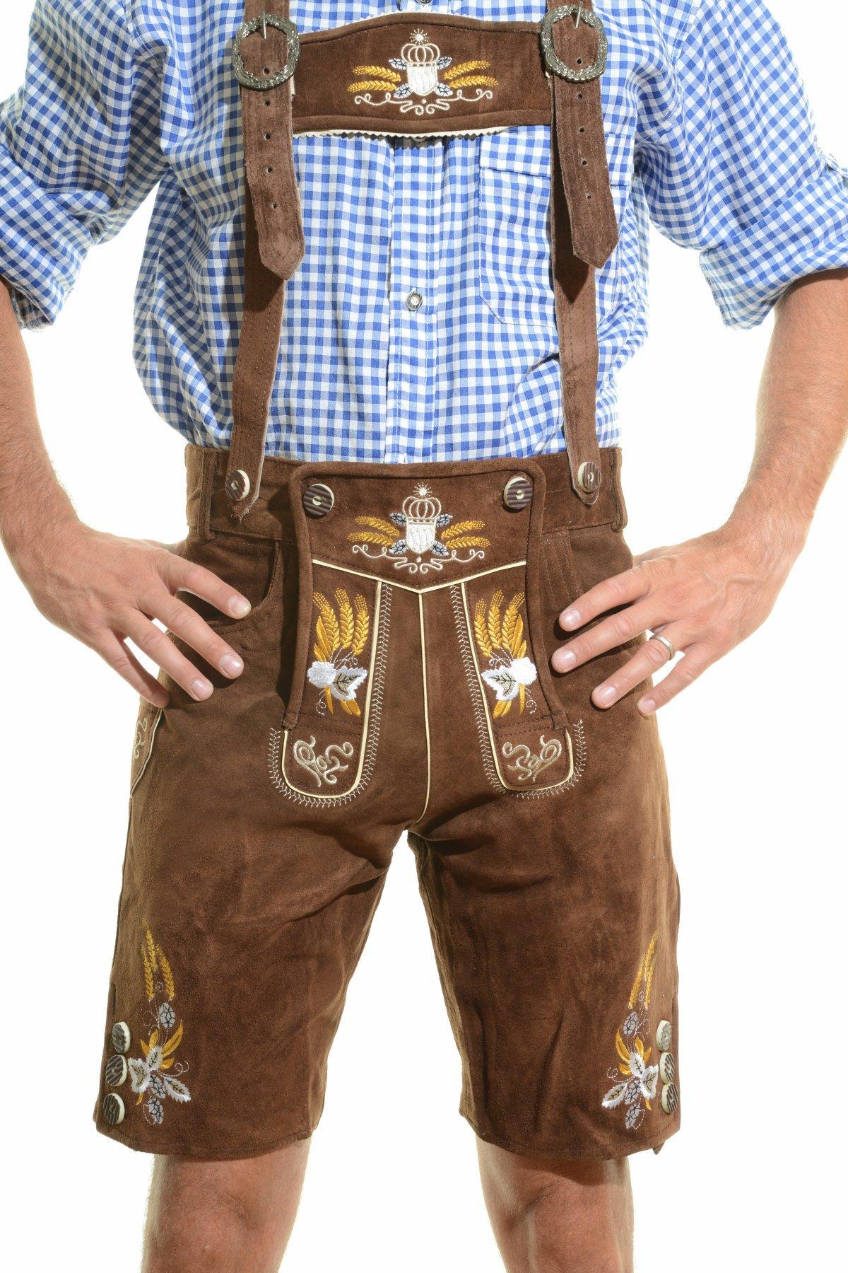 OKTOBERFEST Men's Bavarian Lederhosen Brown - Oktoberfest Leather Trousers 34