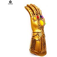 House of Queens Thanos Gauntlet Button Battery Operated Flexible Allows Finger Movement Infinity War PVC Electronic Fist Halloween Cosplay Props (Light Up Glove-Adult)