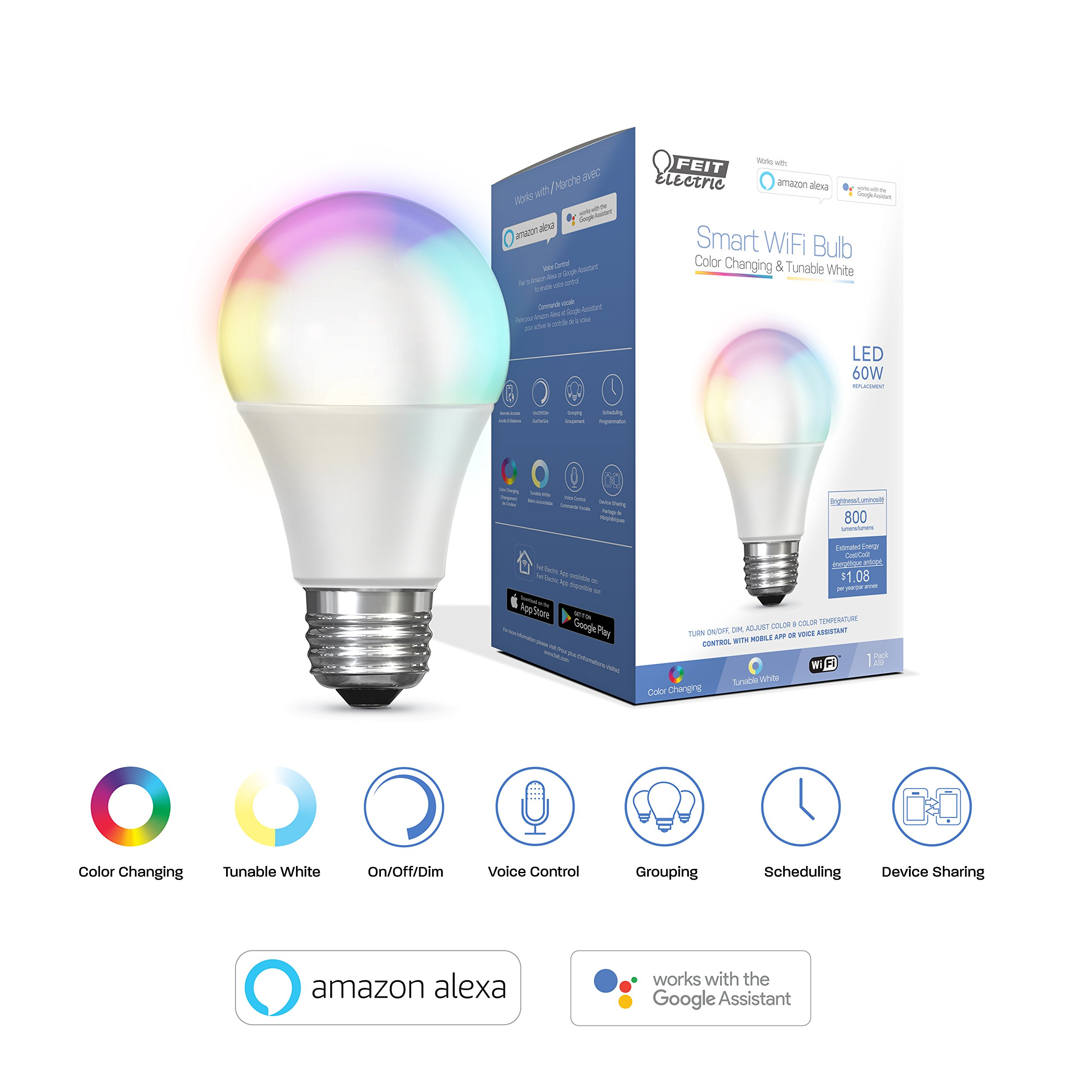 FEIT Electric Smart WiFi LED Color Changing and Dimmable A19 Light Bulb,  No Hub Required, Works with Alexa and Google Assistant   (A800/RGBW/AG)