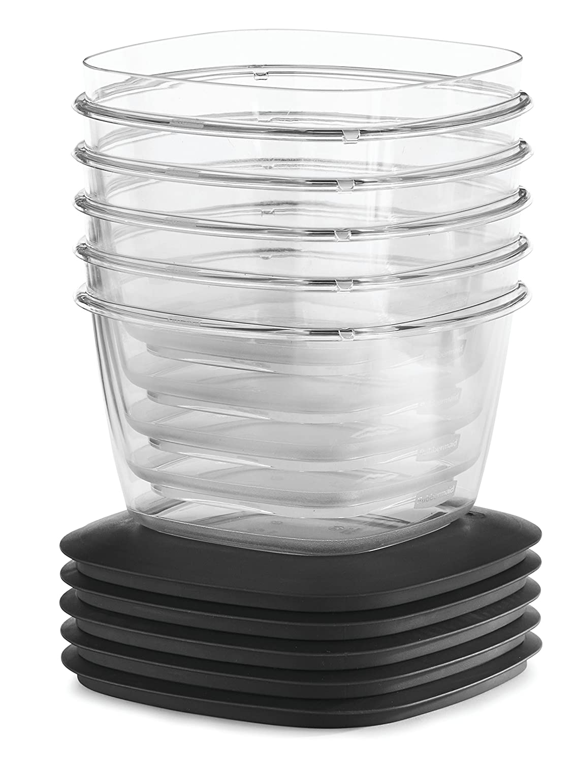 Rubbermaid Premier Food Storage Container, 7 Cup, 5-Pack, Grey