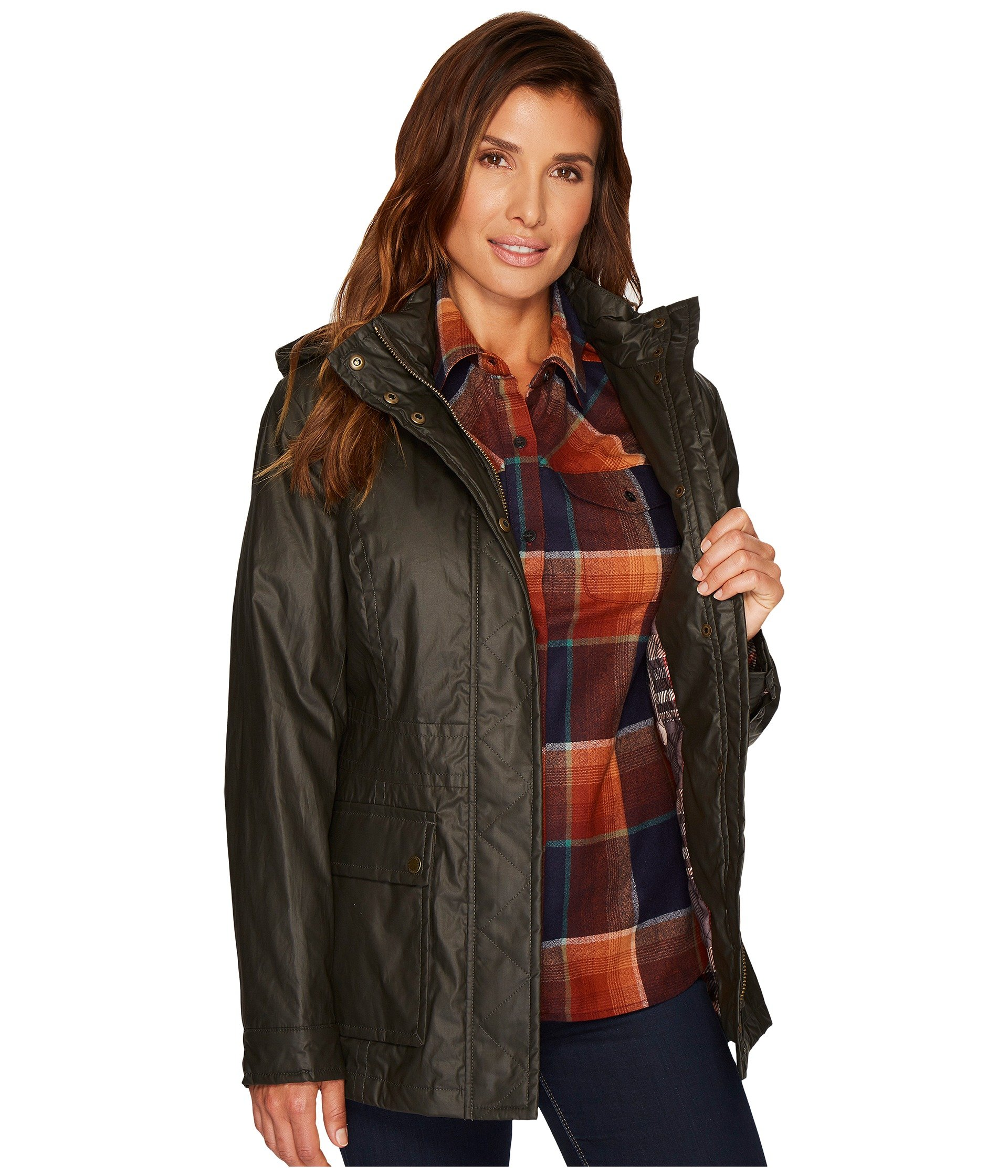 Pendleton Women's Waxed Cotton Hooded Zip Front Jacket, Olive, M by Pendleton (Image #8)