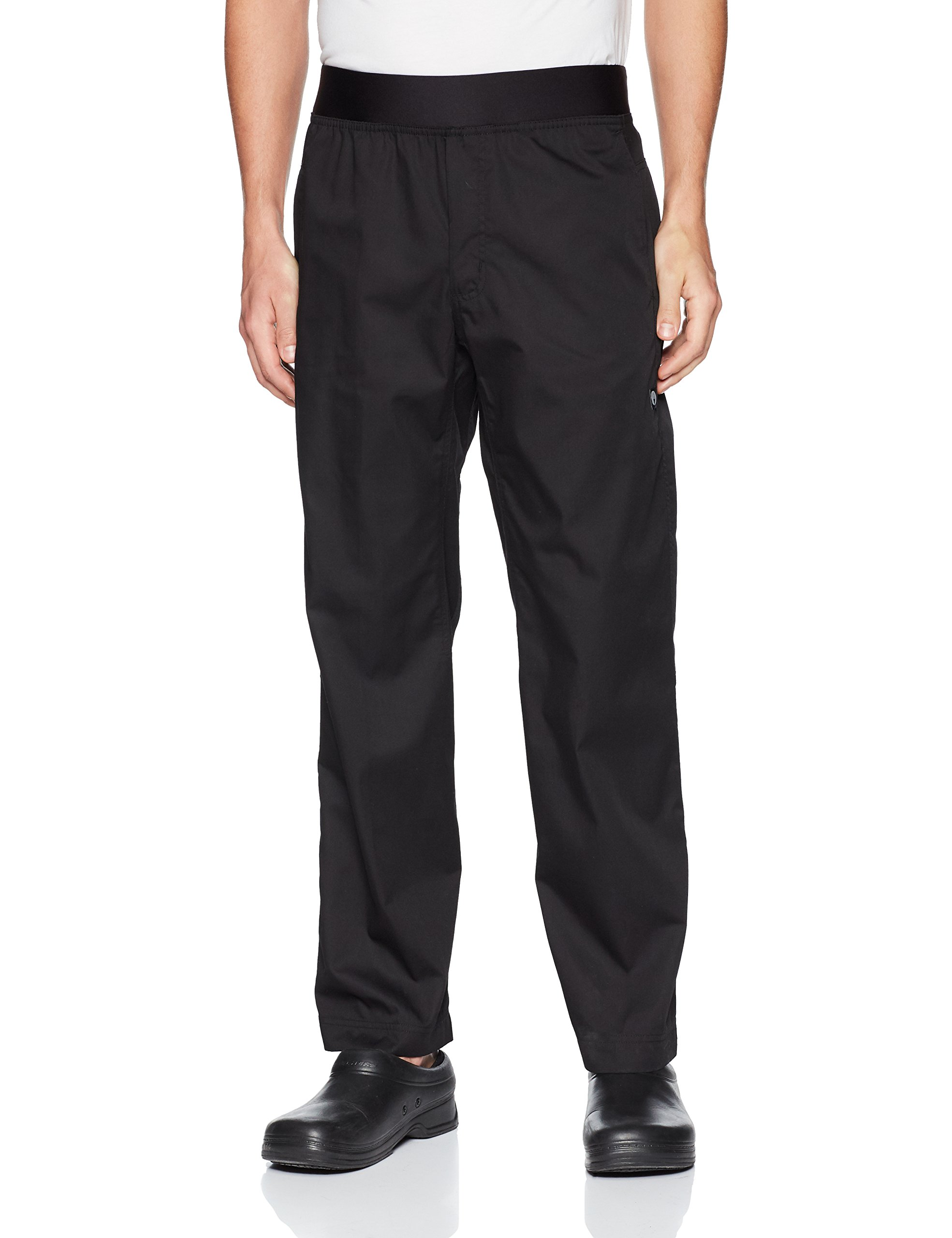 Chef Works Men's Lightweight Slim Chef Pants, Black, Large