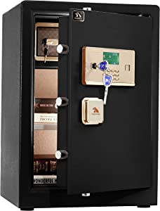 TIGERKING Digital Security Safe Box,Double Safety Key Lock and Password,Special own Interior Lock Box Safe for Home Office 3.7 Cubic Black