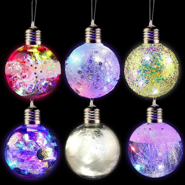 Aneco 6 Pack Led Christmas Ball Ornaments Shatterproof Christmas Balls Baubles Set Fillable Xmas Tree Balls For Christmas Wedding Party Decor Furniture Decor