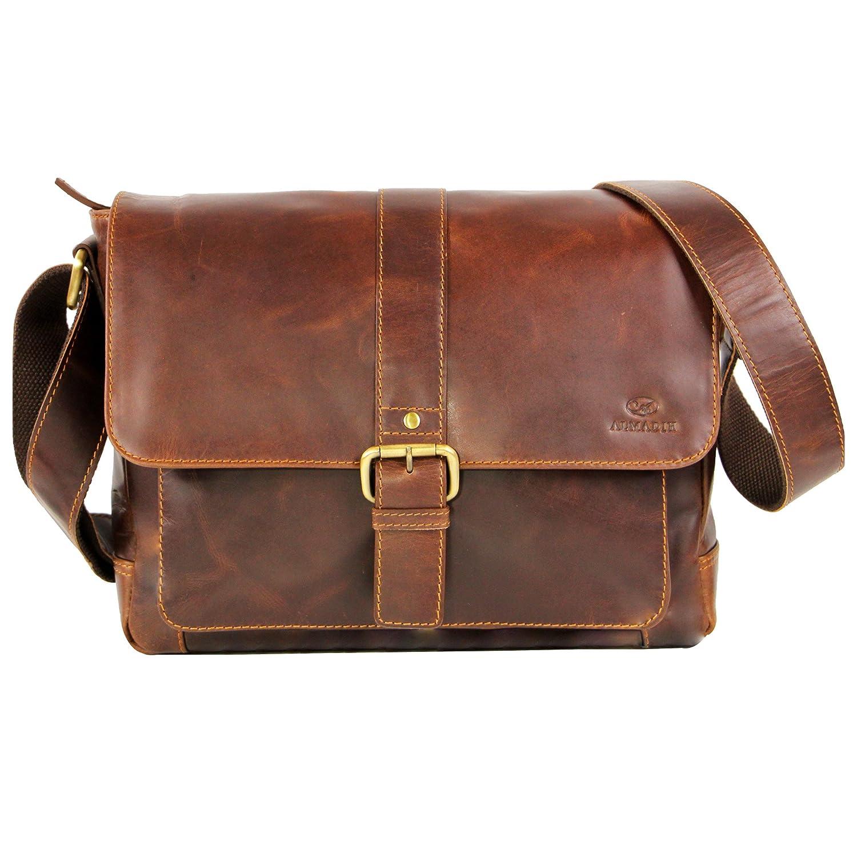 b2286def1f ALMADIH sac en cuir véritable JORDAN Bagages sac bandoulière Marron Vintage  serviette sac porté épaule Messenger ...