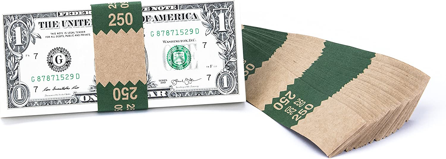 Natural Kraft Saw-Tooth $250 Currency Band Bundles 500 Bands