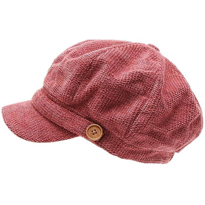 0f3fdb4022a MIRMARU Women s Classic Visor Baker boy Cap Newsboy Cabbie Winter Cozy Hat  with Comfort Elastic Back