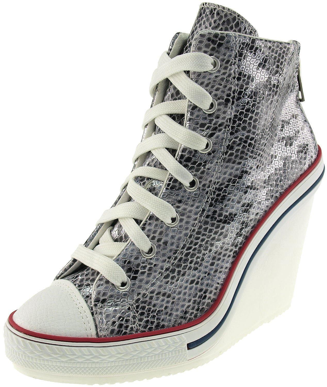 25d94dd02994 Maxstar Women's 777 Back Zipper Snake Texture High Wedge Heel Sneakers  85%OFF