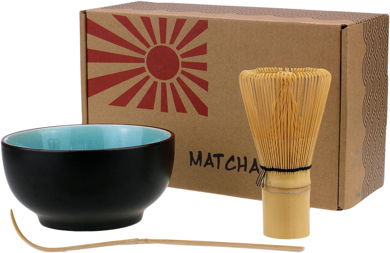 Urban Lifestyle set de bol de matcha, balai de matcha et cuillère en bambou Taro (rose)
