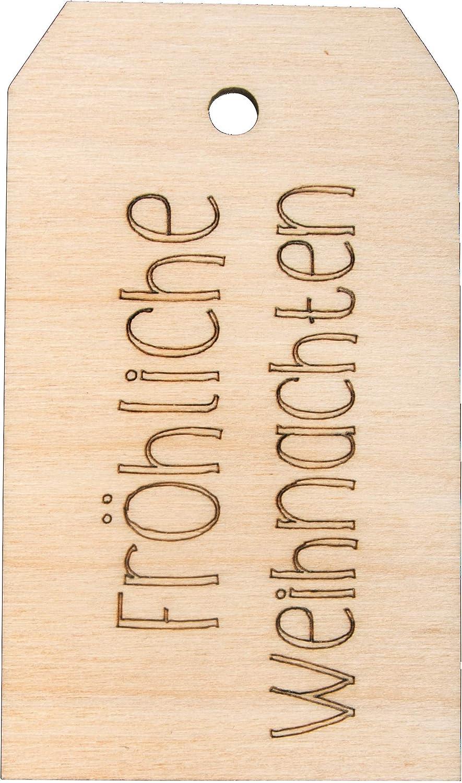 Geschenkanh/änger Holz 4,8 x 8,2 cm naturbelassen Weihnachtsdekoration Rayher 62990505 Holz-Anh/änger Fr/öhliche Weihnachten Holz Tag
