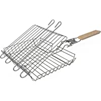 The Purple Cricket - 430 Stainless Steel Grilling Basket, Adjustable, Portable, for Outdoor BBQs, Kitchen & Camping use. Grill Fish, Vegetables, Steak & Shrimp. Removable Handle & Dishwasher Safe