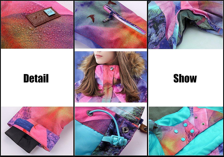 HOTIAN Womens High Windproof Technology Colorful Printed Snowboard Ski Jacket