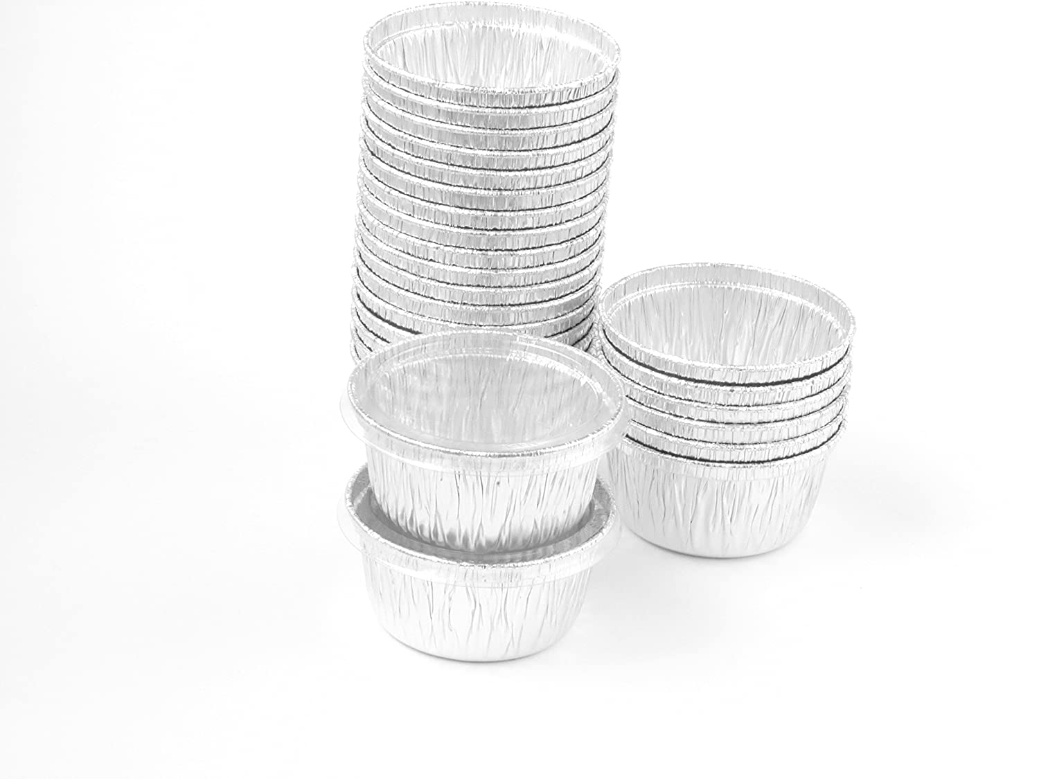 Disposable Aluminum 4 Oz Ramekins/foil Cups w/ Clear Snap on Lid #1400p (50)