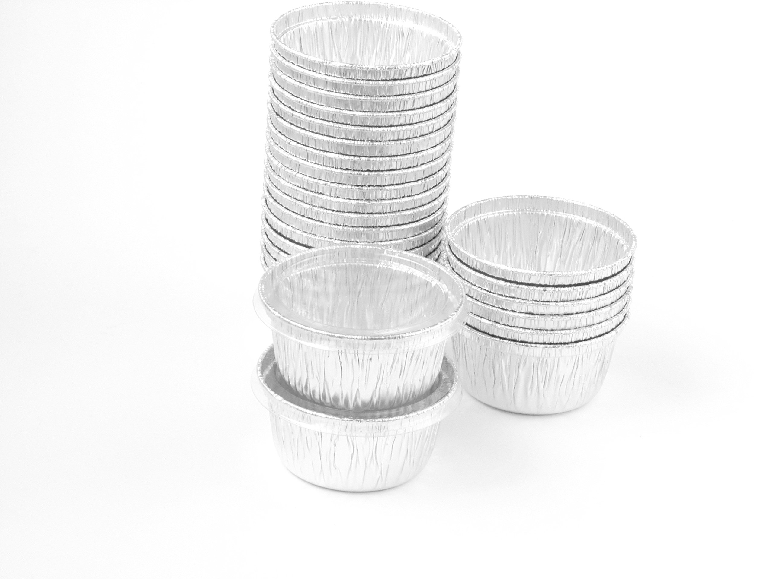 Disposable Aluminum 4 Oz Ramekins/foil Cups w/ Clear Snap on Lid #1400p (100)