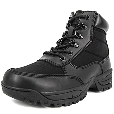 Milforce Men s 6 Inch Military Tactical Ankle Boots Lightweight Police Duty  Work Shoes with Side Zipper fbefa2bd62ca
