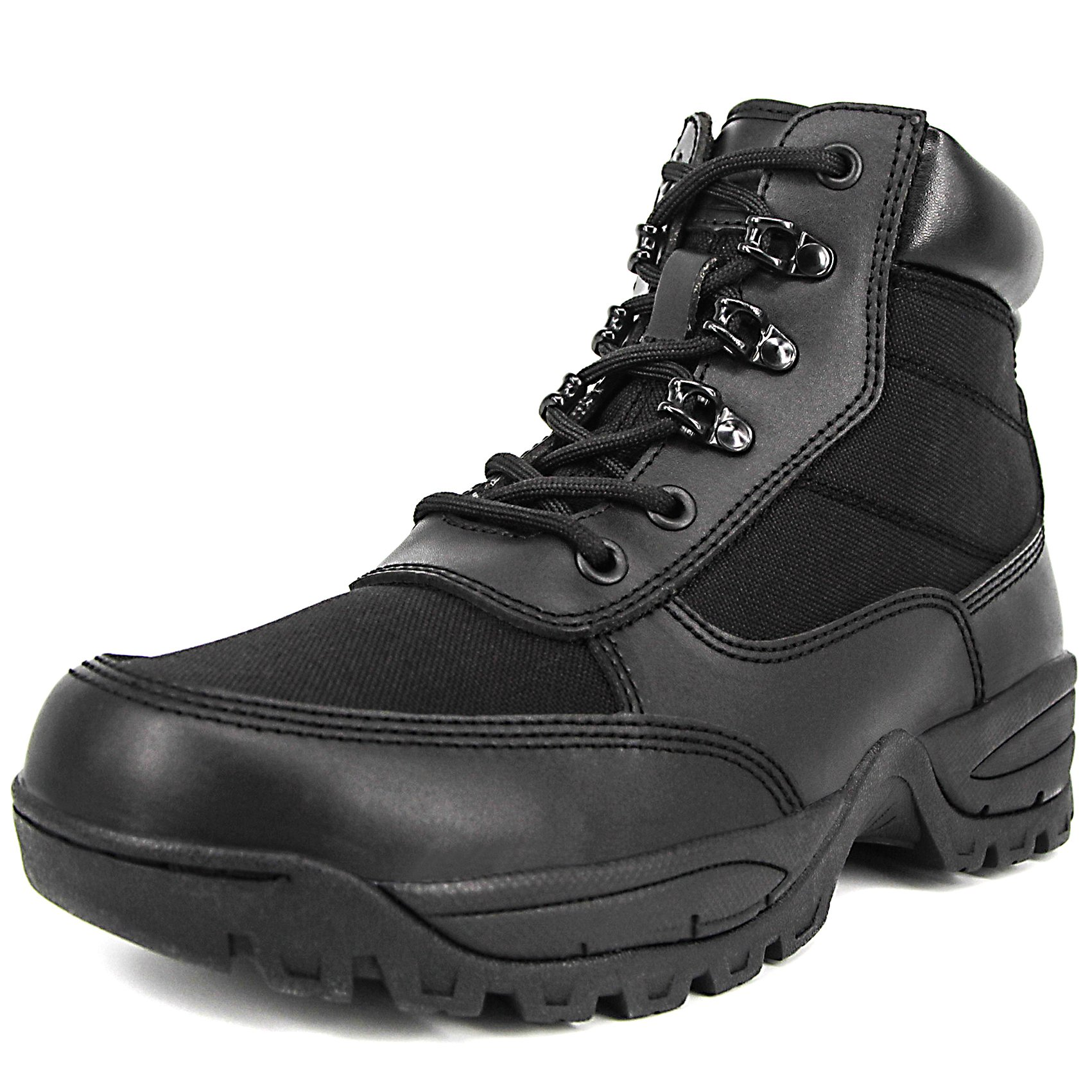 Milforce Men's 6 inch Military Tactical Ankle Boots Lightweight Police Duty Work Shoes with Side Zipper, Black (8 D (M) US)