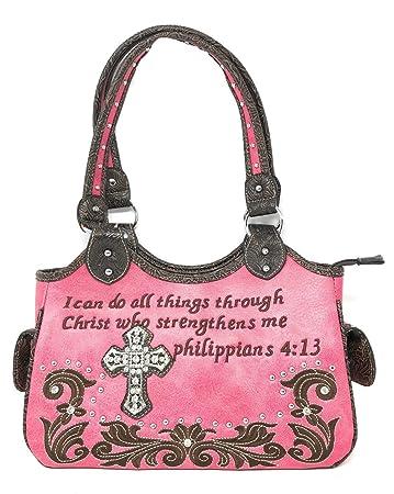 893aa96bad3a3 Texas Western Online Frauen Bibel-Vers Kreuz Flora Handtasche Medium Hot  Pink