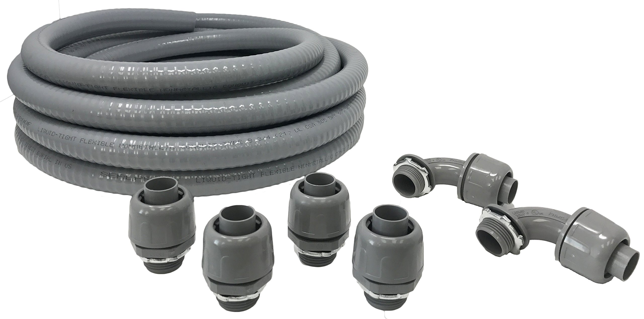 Sealproof Non-metallic Liquid-Tight Conduit and Connector Kit, 3/4-Inch 25 Foot Flexible Electrical Conduit Type B with 4 Straight and 2 90-Degree Conduit Connector Fittings, 3/4'' Dia