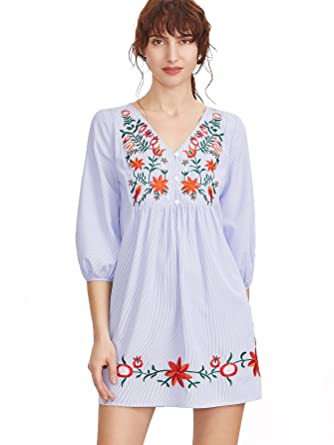 0ae0dafe17cc Floerns Women s Striped Button Front Lantern Sleeve Embroidered Dress at  Amazon Women s Clothing store