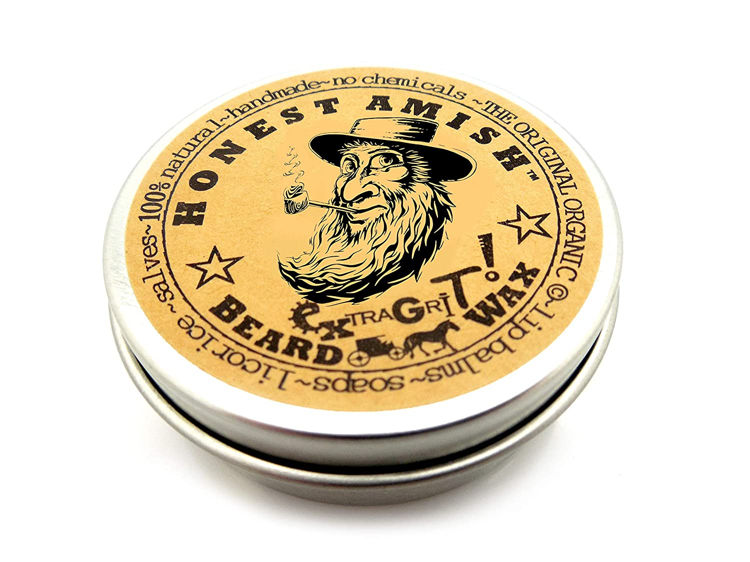 Honest Amish Extra Grit Beard Wax - Natural and Organic - Hair Paste and Hair Control Wax Beard Wax Extra Grit