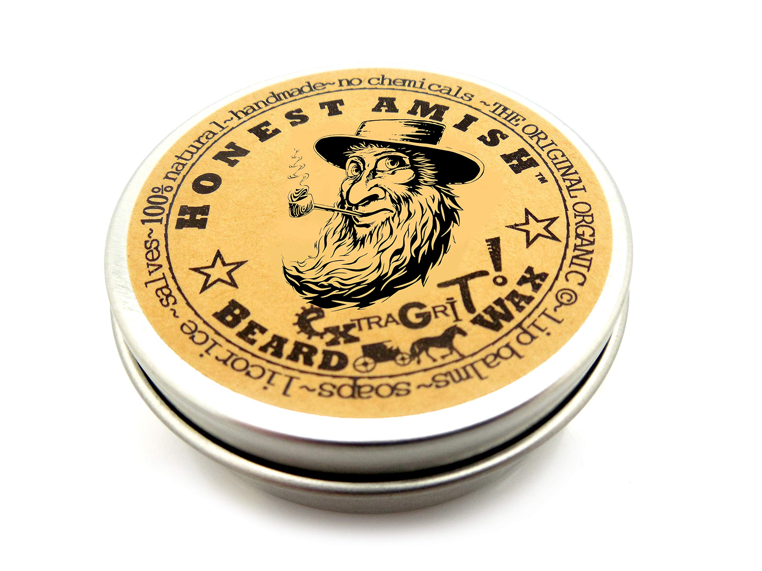 Honest Amish Extra Grit Beard Wax - All Natural and Organic - Hair Paste and Hair Control Wax