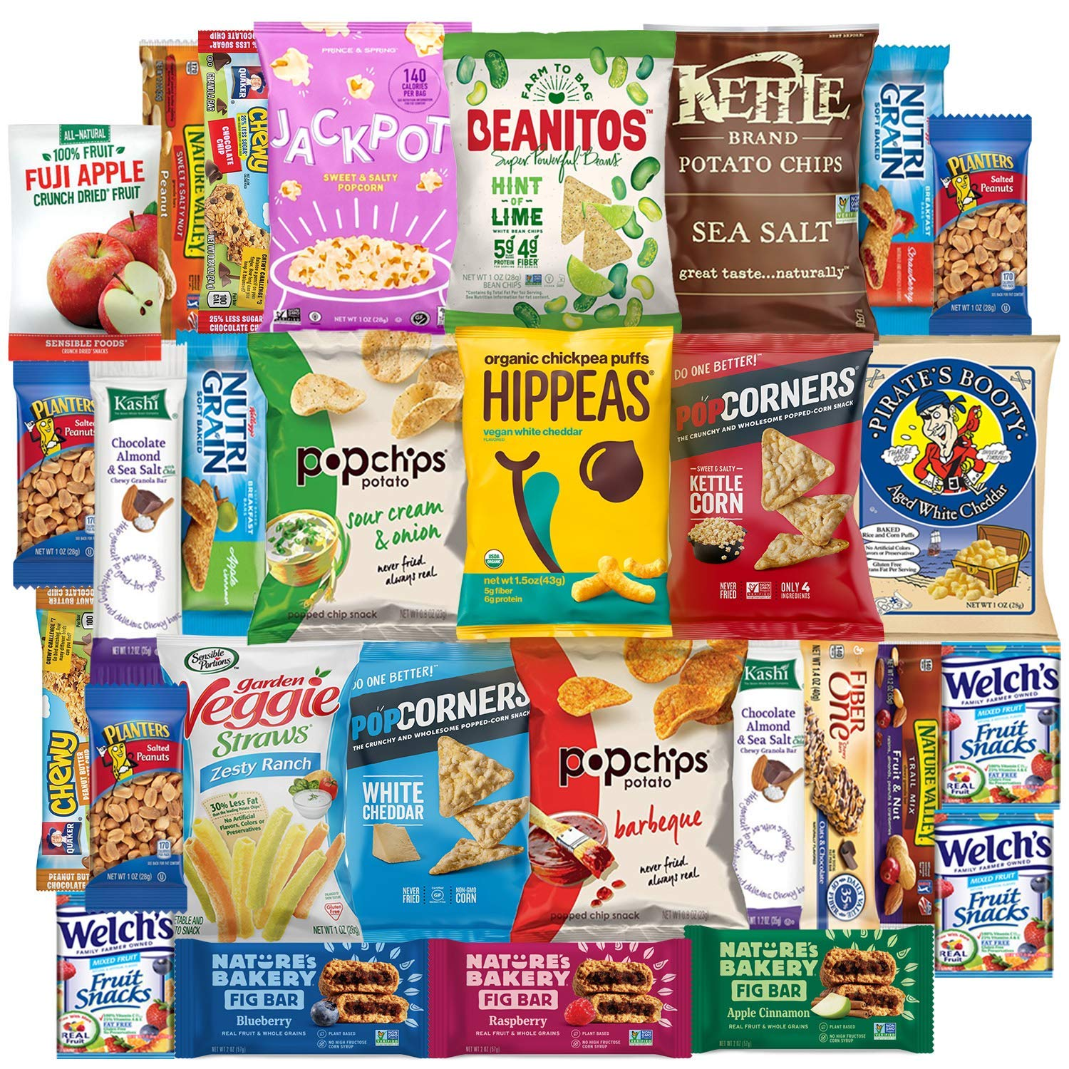 Variety Fun Healthy Office Snacks (200 Count) - Bulk Assortment - Over 16 Pounds of Chips Cookies & Candy