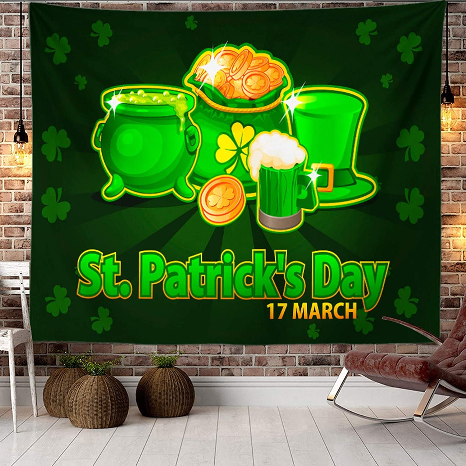 JJAIR Happy St.Patrick's Day Tapestry Green Hats with Four Leaf Clover Daisy Tapestry Tapestry Wall Art Bedroom Living Room Dorm Decor,3,260230cm