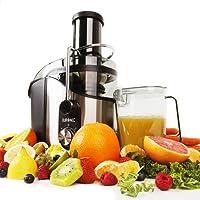 Duronic JE8 Centrifugeuse à jus de 800W en inox pour fruits et légumes entiers - Large ouverture de 75 mm et couvercle transparent – Carafe 1 L