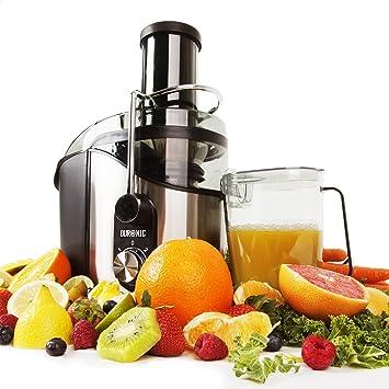Duronic JE8 Licuadora para Verduras y Frutas Enteras de Acero Inoxidable, Licuadora y Exprimidor con
