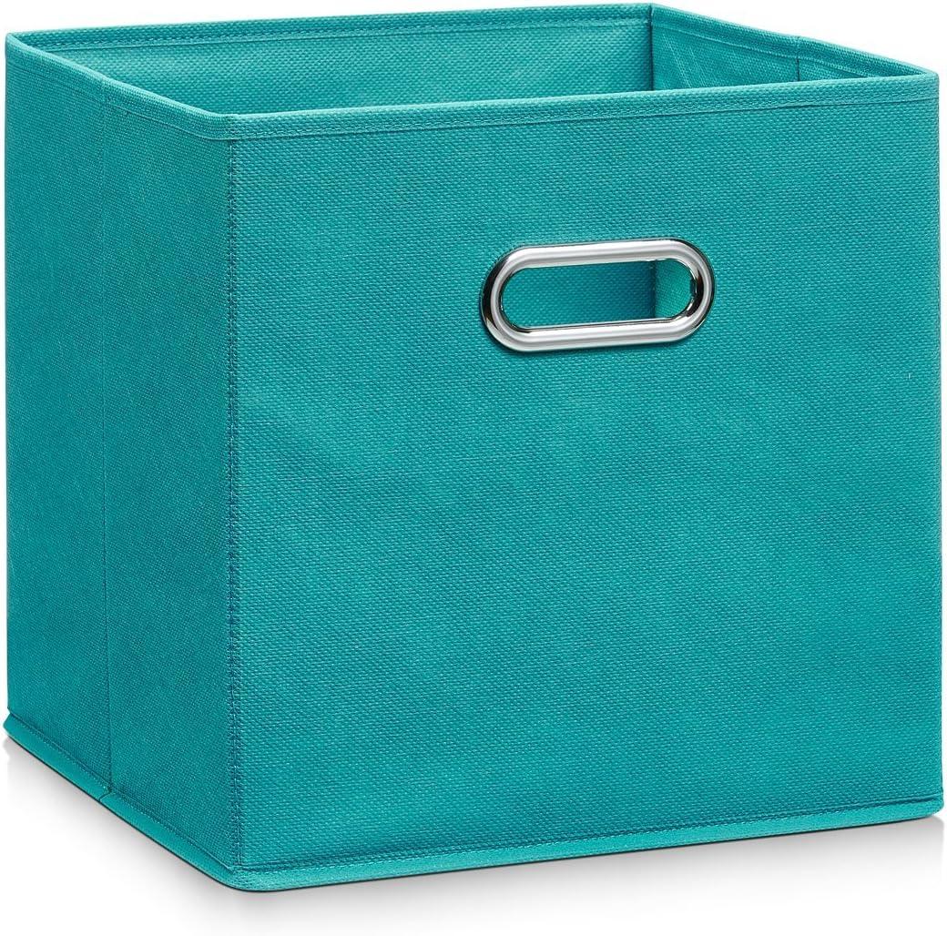 Zeller 14138 - Caja de almacenaje de tela, plegable, 28 x 28 x 28 cm, color petróleo