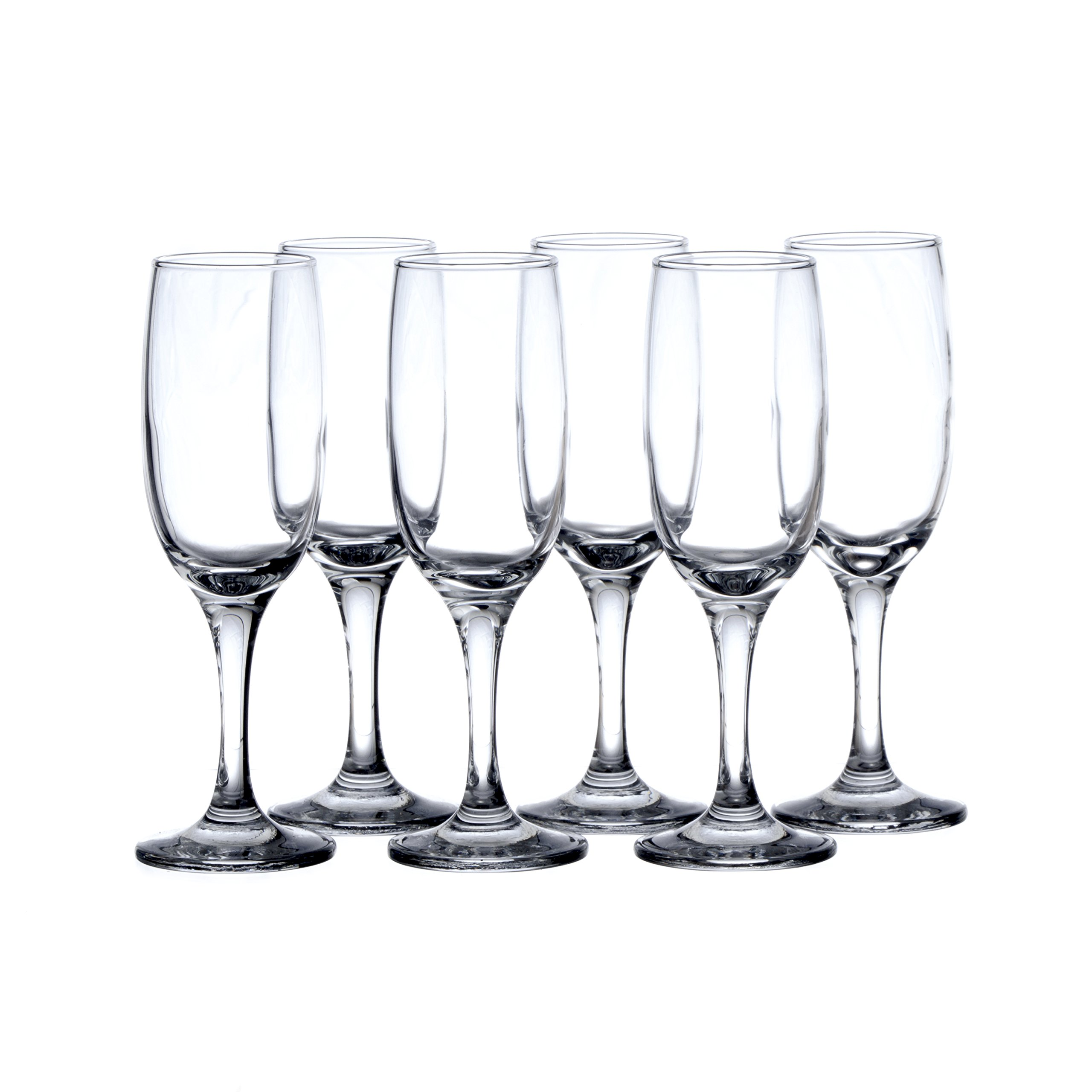 6-Piece Champagne Glasses Set - Crystal Flute Glass, Heavy Base, Restaurants&Hotel Quality, 6 1/4 oz. / 190 ml, Durable Tempered Glass, t.m. Pasabache Professional