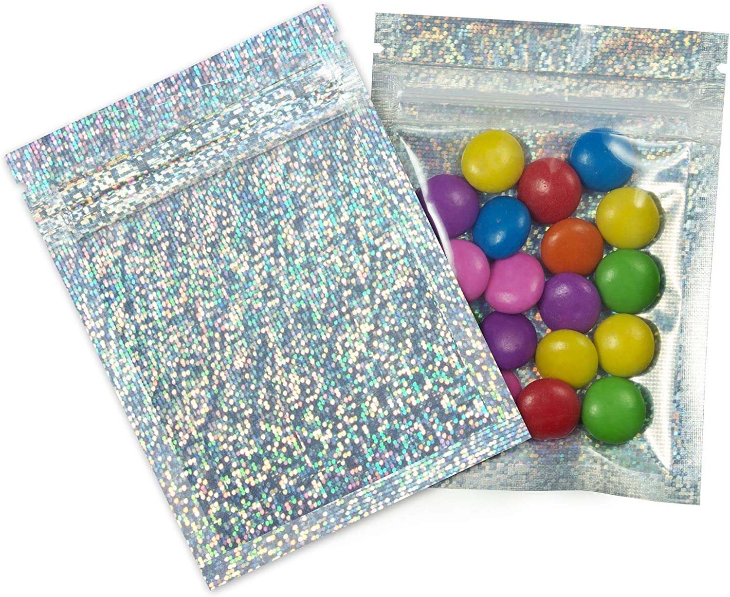 InfinitePack Mylar Resealable SmellProof Bag, 3x4 Flat Ziplock Bag - Food Storage Pouch for Snack, Coffee, Candy, Lip Gloss, Jewelry Packaging Grip Seal - Holographic Glitter Foil Bag, 100 Pack