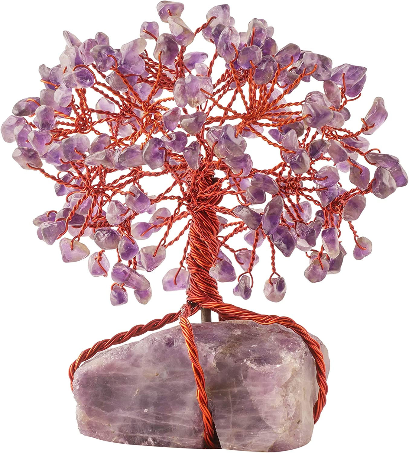 PYOR Amethyst Gems Tree of Life Feng Shui Crystals Stones Spiritual Gift Buddhah Statute Positive Energy Gifts Good Luck Items Decoration Office Trees Home Décor Rough Copper Wire Wrapped