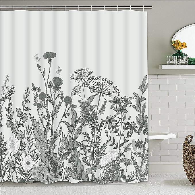 Ikfashoni Wildflower Shower Curtain Vintage Herbs Shower Curtains With 12 Hooks Wild Flowers Shower Curtain For Bathroom 69 X 70 Inches Furniture Decor