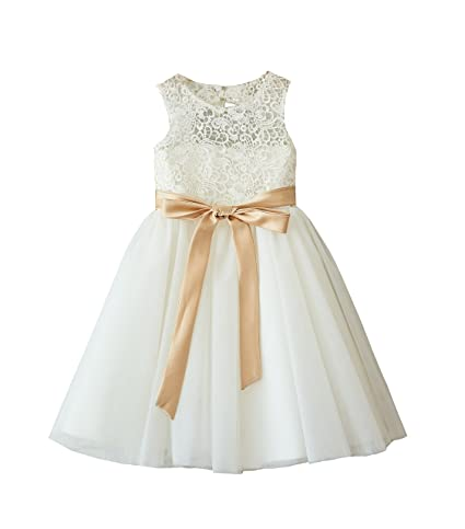 077076cb2e Amazon.com  Miama Ivory Lace Tulle Wedding Flower Girl Dress Junior ...