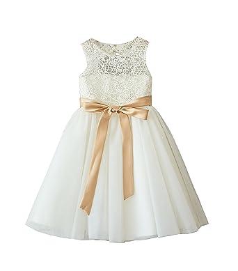 6ce5d9d4d Miama Ivory Lace Tulle Wedding Flower Girl Dress Junior Bridesmaid Dress, Ivory,2T