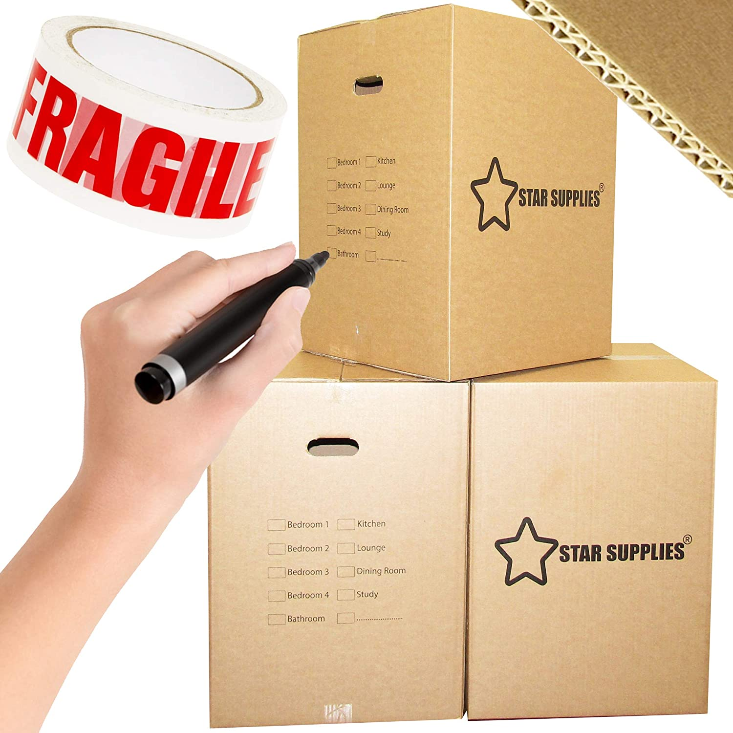 10 XL Double Wall Strong Cardboard Boxes 24x17x17