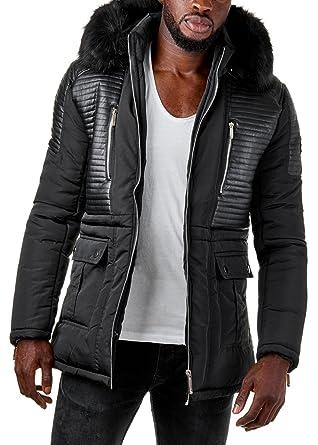 Schwarze winterjacke mit kapuze