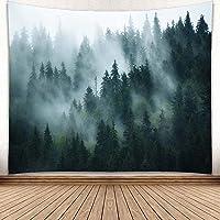 YISURE Tapiz de pared con niebla y bosque y montaña. Decoración de pared con árbol, bosque, naturaleza, para dormitorio…