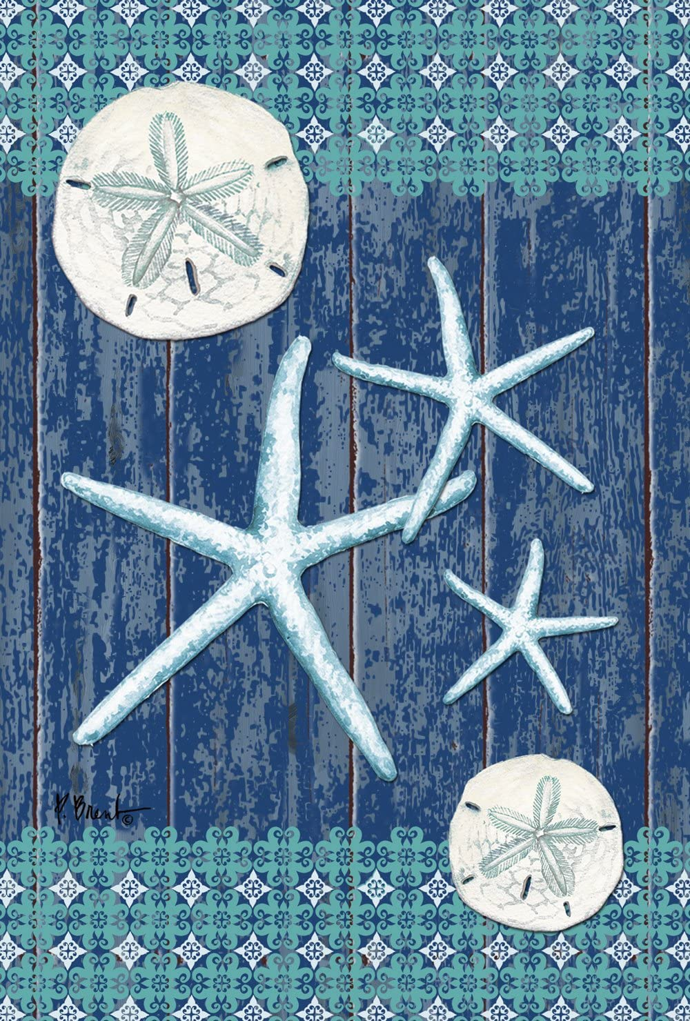 Toland Home Garden Sand Dollars and Sea Stars 12.5 x 18 Inch Decorative Rustic Beach Shell Garden Flag