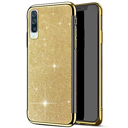 Herbests Kompatibel mit Samsung Galaxy A50 H/ülle Glitzer Diamant Silikon /Überzug Plating TPU Schutzh/ülle Weiche Slim Cover Crystal Clear Handytasche Kratzfest Durchsichtige Handyh/ülle,Gold
