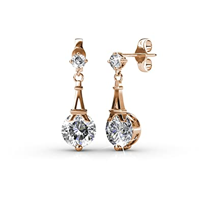 a071010e5d13 Private Twinkle 18ct Rose Gold plated Paris Dangle Drop Earrings made with  crystal from SWAROVSKI for Girls and Women (6mm)  Amazon.co.uk  Jewellery