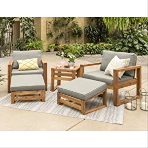 Walker Edison Modern Outdoor Wood Patio Furniture Set Chairs and Ottoman Side Table, All Weather Backyard Garden Patio, 5 Piece - Brown