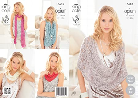 King Cole Opium Scarf Snoods Poncho Wrap Knitting Pattern 3685