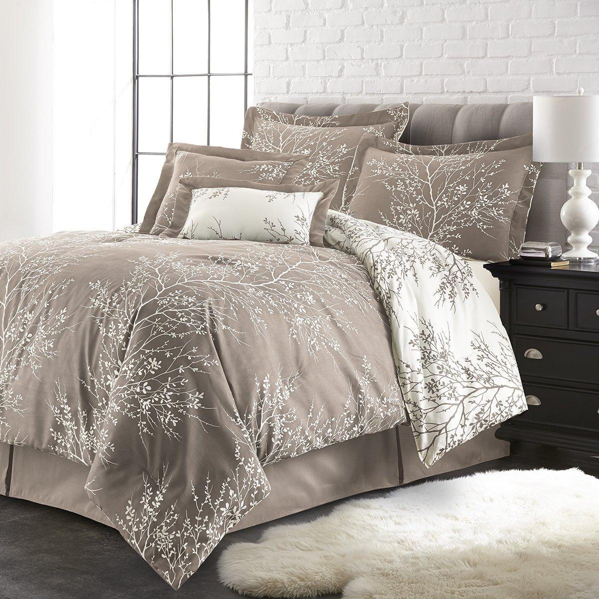 Spirit Linen Hotel 5Th Ave Plush Reversible Foliage Comforter Set, Queen, Taupe/White